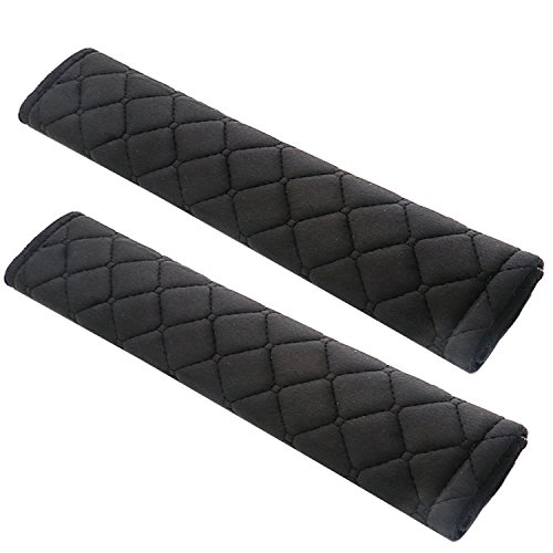 ESFUN 2 Pack Black Universal Car Safety SeatBelt Shoulder Strap Pad Soft Headrest Neck Support Pillow Cover Cushion,No Slip,No (Velcro Seat Belt)