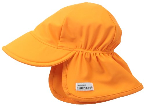 Happy Cap Face (Flap Happy Baby Girls' UPF 50+ Swim Flap Hat, Orange, Small)