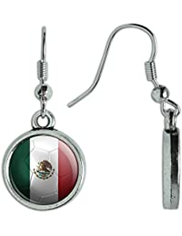 Novelty Dangling Drop Charm Earrings Soccer Futbol Football Country Flag I-Z
