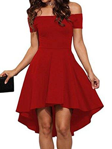 Figure Skater Dress (DOTIN Women off Shoulder Dress Short Sleeve Swing Dovetail Swallowtail Dresses)