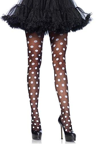 Leg Avenue Women's Sheer Polka Dot Pantyhose, Black/White, One Size