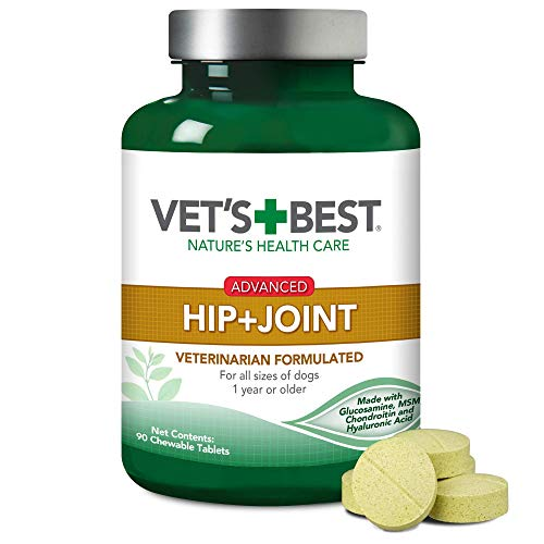 Vet's Best Advanced Hip & Joint Dog Supplements | Formulated with Glucosamine and Chondroitin to Support Dog Joint and Cartilage Health | 90 Chewable Tablets
