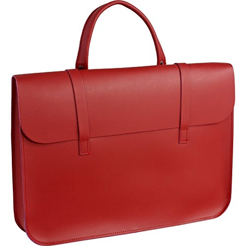 Deluxe Stylish Vintage Real Leather Music or Laptop Case Satchel - 7 Colours (Red) Red