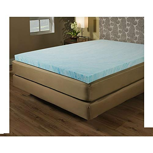 Colored Luxury Crate Mat - Queen Size 2-inch Blue Gel Memory Foam Mattress Topper - Made in USA Pet Mat Foam Crate Memory Luxury Large MyEasyShopping