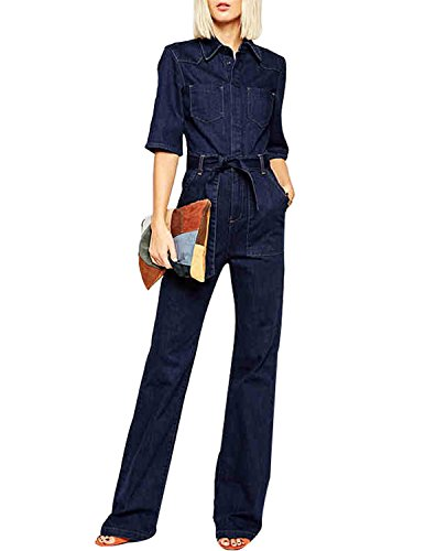 HaoDuoYi Womens Denim Wide Leg Pants Tie Front Half Sleeve Jumpsuit(S,Blue)