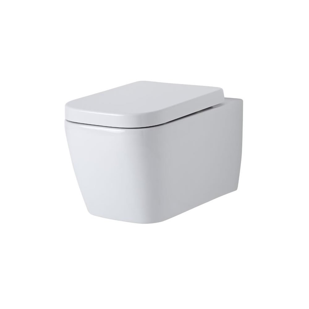 Milano Longton Wall-Hung Toilet - Square Ceramic One-Piece Short-Projection WC and Soft Close Seat