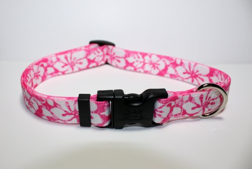 Island Floral Pink Dog Collar - Size Large 18