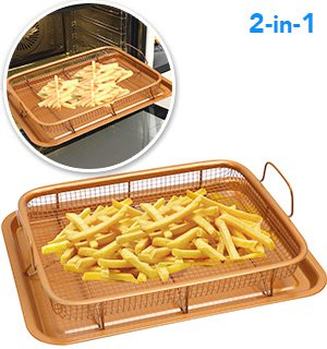 Nonstick Rectangle Crisper Tray, Copper Oven, Turn Your Oven Into An Air Fryer - 2 Pc Set, Frying Basket And Baking Sheet, Dishwasher Safe, Heat-Resistant