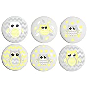 Yellow and Grey Owl Drawer Pulls / Owl Ceramic Nursery Cabinet Knobs, Set of 6 (Yellow Owls)
