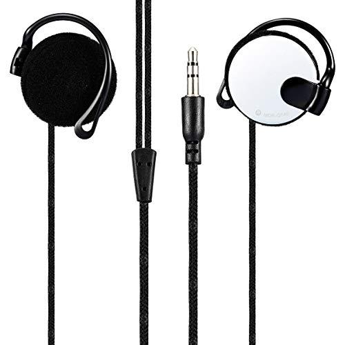 kiirou ヘッドホン スポーツイヤホン 高音質 重低音 ヘッドセット オープン型 有線 3.5mm 耳掛け式 ポーツインイヤホン マイク付き 通話 インラインコントロール スマホ/タブレット/ノートPC/デスクトップ用 (白)