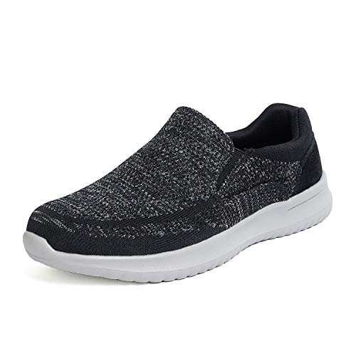 Bruno Marc Men's Slip On Walking Shoes Mesh Sneakers Walk-Easy-01 Black Grey Size 13 M US