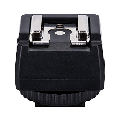 JJC Standard Hot Shoe Adapter with Extra PC sync connection Port & 3.5mm Mini Phone Connection Port for Connecting Cameras to Additional Off-camera Flash, Studio Light / Strobes or Other Accessories