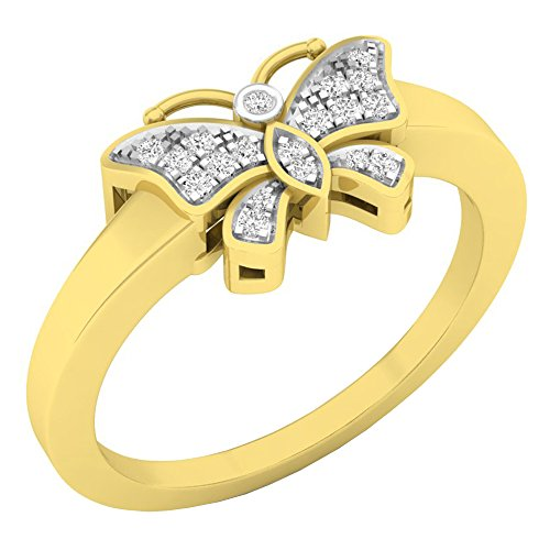 Dazzlingrock Collection 0.07 Carat (ctw) 10K Round White Diamond Ladies Butterfly Right Hand Ring, Yellow Gold, Size ()