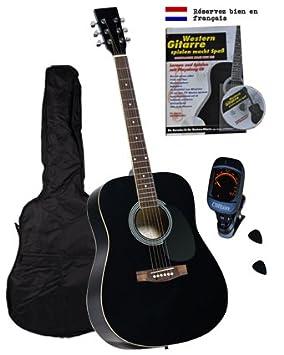 Clifton - Juego de guitarra española con libro, CD de karaoke, bolsillo acolchado, afinador eléctrico y púas, color negro: Amazon.es: Instrumentos musicales
