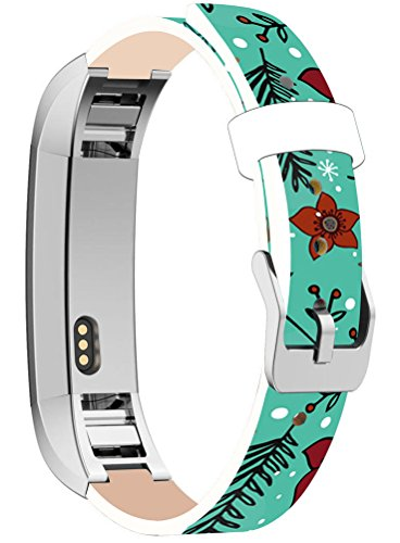 Bands Replacement for Fitbit Alta HR, Cisland Compatible Straps Replacement for Fitbit Alta (HR) Silver Connectors + Blue Christmas Designer Artwork Day Xmas Pattern ()