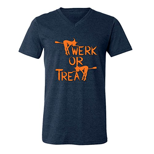 Funny Halloween Costume Ugly Witch Twerk or Treat V-Neck T-Shirts for Men(Heather Navy,XX-Large) -