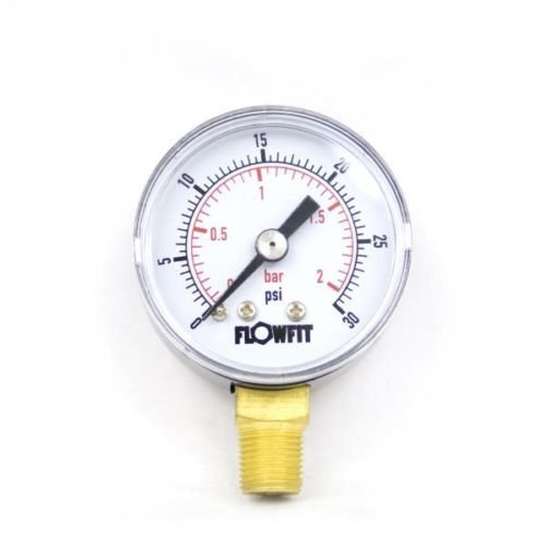 40mm Dry/Pneumatic pressure gauge 0-30 PSI (2 BAR) 1/8' bspt base entry Flowfit