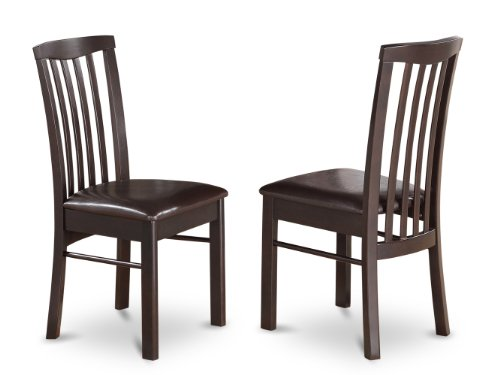 East West Furniture HLC-CAP-LC Dining Chair Set with Faux Leather Seat, Cappuccino Finish, Set of 2