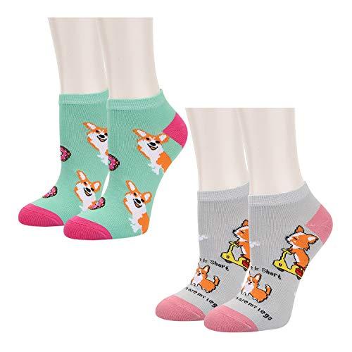 Women Girls Novelty Funny Cute Corgi No Show Low Cut Cozy Ankle Socks 2 Pack -