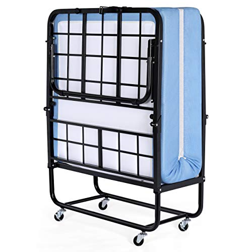 Inofia Foldable Folding Bed, Rollaway Extra Guest Bed with 5 Inch Memory Foam Mattress and Portable Metal Frame on Wheels – Easy Storage – Space Saving – Cot Size – 75 Inches x 31 Inches