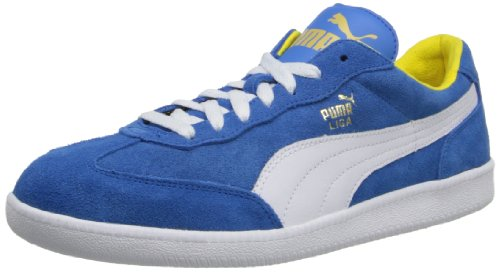 Contrast Leather Sneaker Yellow (PUMA Unisex Liga Suede Classic Sneaker,French Blue/White/Vibrant Yellow,11.5 D(M) US)