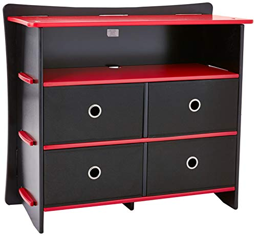 Storage Media Disney (Legaré Furniture Children's Sturdy 4-Drawer Dresser, Storage Organizer for Kid Bedroom, Black and Red)
