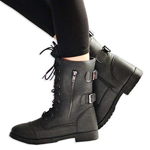 Twisted Women's Trooper Rear Buckle Military Boot - stylishcombatboots.com