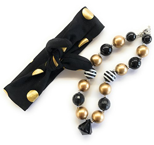 Cute Kids Clothing Newborn Toddler Girl/Girls Black Gold Headband & Chunky Necklace Set