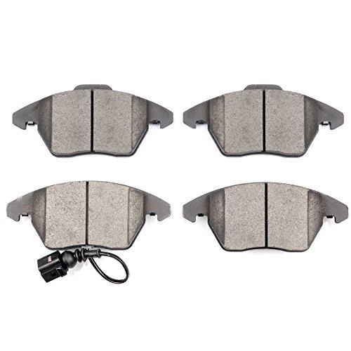 (Ceramic Discs Brake Pads,SCITOO 4pcs Front Brake Pad Brakes Kits fit Audi A3/A3 Quattro/TT/TT Quattro,Volkswagen CC/Eos/Golf/GTI/Jetta/Passat/ Passat CC/Rabbit Compatible 309.11070/EHT1107H D1107-8212)