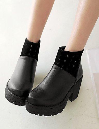 Tacón La Black De Botas Xzz Cn Mujer Zapatos Vestido A Cn39 5 Vellón 7 Semicuero Robusto Uk6 Eu39 us8 us6 Punta 5 Botines Black Moda 5 Casual negro Eu37 Uk4 Cn37 Redonda Tv8qt8w