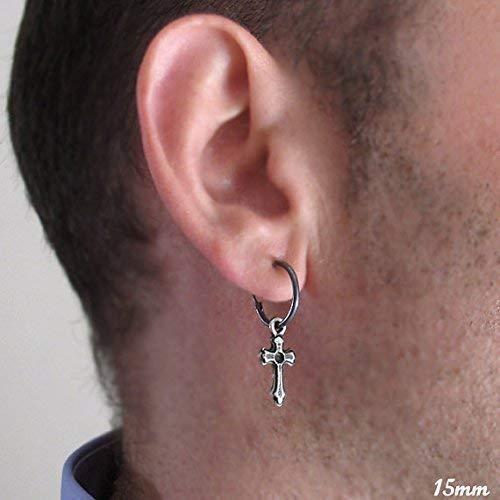 (Sterling Silver Hoop Earring with Cross Pendant for Men Single Black Mens Earring Men's Jewelry Black Cross Earring catholic cross earring Gothic Earring Guys Earring)