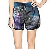 XULANG Young Women Laser cat Space Swim Trunks Watersports Beach wear Casual Sport Boardshorts