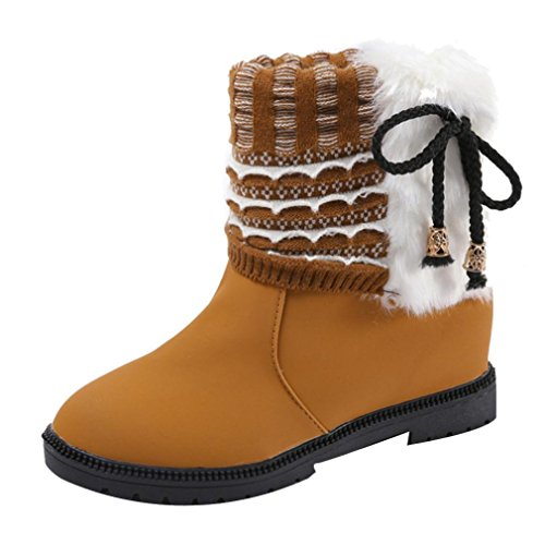 Creazy Women's Boots Winter Boots Warm Ankle Boots Warm Winter Shoes (Yellow, 40)