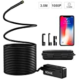 Wireless Endoscope Compatible iPhone Android, NIDAGE WiFi 5.5mm 1080P HD Borescope Inspection Camera 2.0MP Semi-Rigid Snake Camera for Inspecting Motor Engine Sewer Pipe Vehicle (11.5FT)