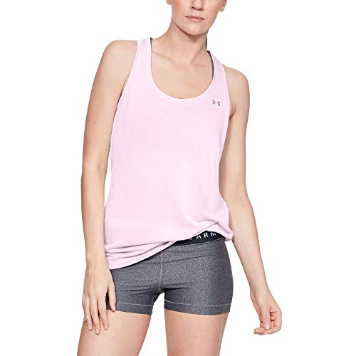 Price comparison product image Under Armour Womens Tech Twist Tank Top,  Pink Fog (694) / Metallic Silver,  Large