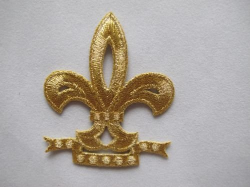 1x Piece of Gold/Golden Fleur-De-Lis Embroidery Iron On Applique Patch (2911) ()