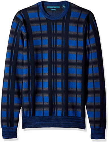 Perry Ellis Men's Multicolor Plaid Crewneck Sweater, Regal Blue/DFG, Large