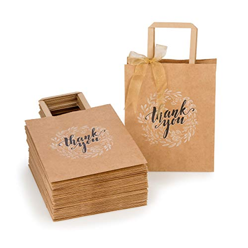 Kraft Paper Bags Bulk with Handles and Printed Thank-You Design for Gift (NO BOWS/RIBBONS), Wedding Welcome, Merchandise, Reception, Business, Craft Fair, Goodies, Retail | 50 pcs, Medium 8x4.75x10 in ()
