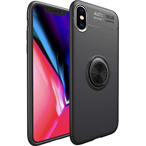 iPhone Xs Max Case,WATACHE Slim Fit Heavy Duty Soft TPU Case with Metal Finger Ring Grip Holder Kickstand [Support Magnetic Car Mount] for Apple iPhone Xs Max (6.5 inch) - Black