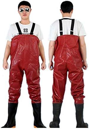 防水ナイロン釣りユニセックス胸ウェーダー 胸ウェーダー釣りシギのために男性とブーツの使用のためにフライフィッシング防水プラスベルベット チェスト ハイ ウェダー 防水 釣り (色 : 赤, Size : 39)