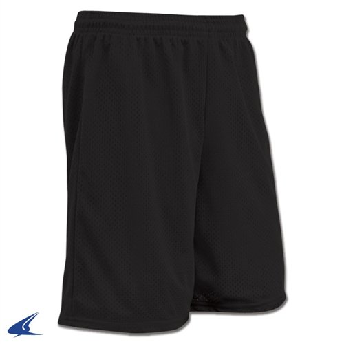 CHAMPRO Polyester Tricot Short with Liner, Black, (Braided Mesh Short)