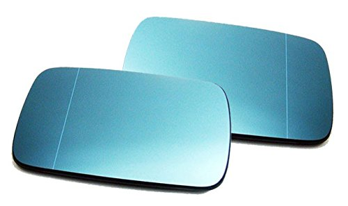 Wagon E46 (Euro Wing Mirror Glass Tinted Blue Heated Anti Blind Spot For BMW E46 E39 M 3 & 5 Series)