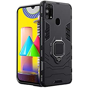 TheGiftKart Armor Polycarbonate Back Case Cover for Samsung Galaxy M31 / F41 / M31 Prime (Carbon Black)