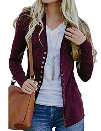 Weilim Women's V-Neck Button Down Knitwear Long Sleeve Casual Cardigans Sweater WineRed S