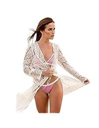 Beach Holiday Beach Sunscreen Coat Long Lace Waist Cardigan Swimsuit Bikini Blouse Blouse Long Skirt Female (Color : White)