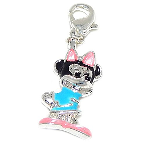 Mickey Mouse Club Charm - GemStorm Silver Plated Dangling Mouse with Pink Bow Clip On Lobster Clasp Charm