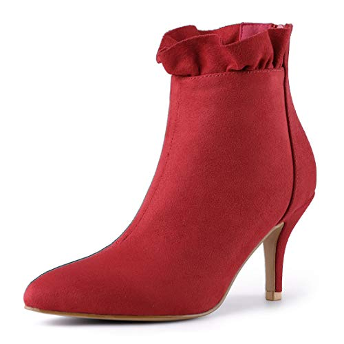 Stiletto Boots Toe Heel Ankle Red Zipper K Pointed Women's Allegra wPBCf