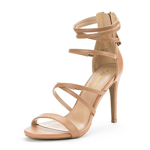 DREAM PAIRS Women's Show Nude Pu High Heel Dress Pump Sandals - 8 M US ()