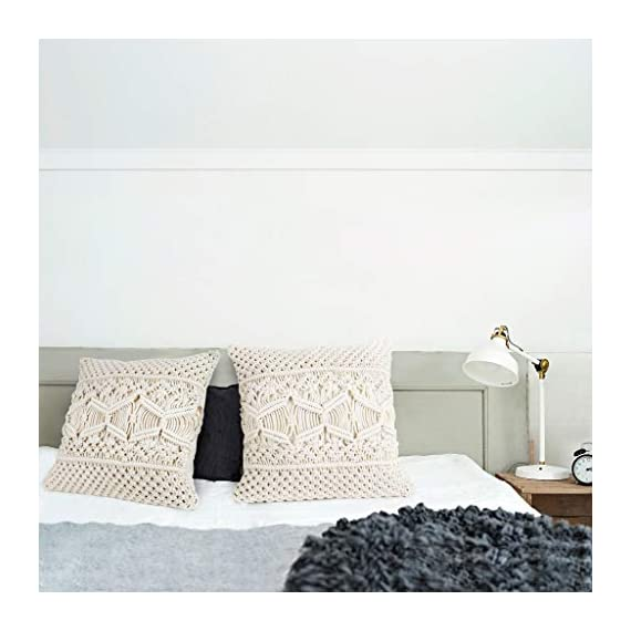 Mkono Throw Pillow Cover Macrame Cushion Case (Pillow Inserts Not Included) Set of 2 Decorative Pillowcase for Bed Sofa Couch Bench Car Boho Home Decor,17 Inches - This macrame throw pillow cover has various usage as pillow indoor and outdoor, bolster for any body part, sleeping, watching TV, in-bed readingand. Perfect for decorating your room in a simple and fashion way. Suitable for living room, bed room, office, cafe, ect, and add a touch of graceful color to your home or any other place. Material: Cotton and fabric, Gorgeous, durable and eco friendly decor. Please notes that pillow inserts and other props are not included! Unique design adds texture and interest to any home decor.This knit pillow cover make a boho vibe on sofa, couch, bench, bed or car. - living-room-soft-furnishings, living-room, decorative-pillows - 41GO HA JxL. SS570  -