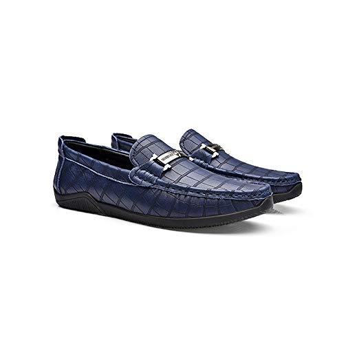 Tamaño Zgsjbmh Mocasín 27 de Mocasín EU Negocios tamaño Zapatos Zapatos Diseño Cuero Suave 0cm Confortables Pisos 24 de Corte Gommino Gommino de bajo 42 5cm de Azul único liviano y Genuino 4w4rgqR